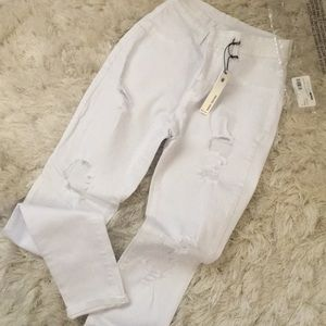 Denim - High waisted white distressed jeans